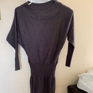 Dark grey ribbed long sleeve bodycon dress